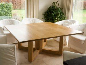 Square extending oak table